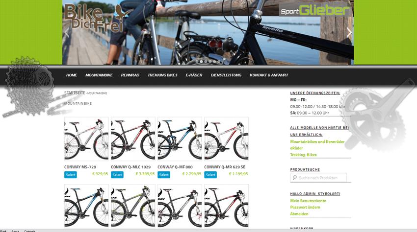 styrolart print- und webdesign - Website Charly's Bikeshop