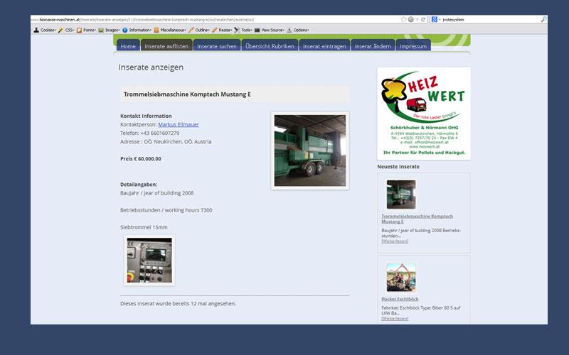 styrolart print- und webdesign - Umwelttechnik Ellmauer, Website mit Anzeigenschaltung, Webprogrammierung,