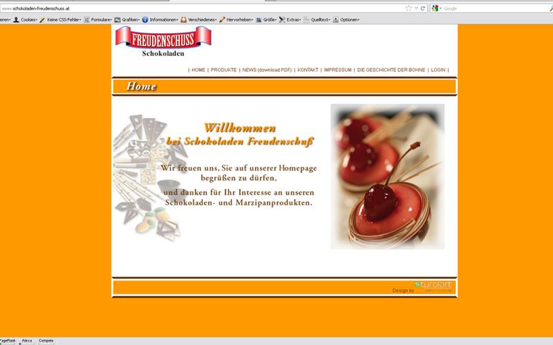 styrolart print- und webdesign - Schokoladen Freudenschuss, Website, CMS Programmierung, Etiketten, Logoerstellung - Branding