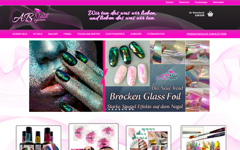 Erstellung Webshop mit Design www.ab-nail.at by styrolart.at