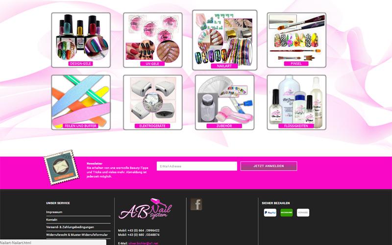 Erstellung Webshop mit Design www.ab-nail.at