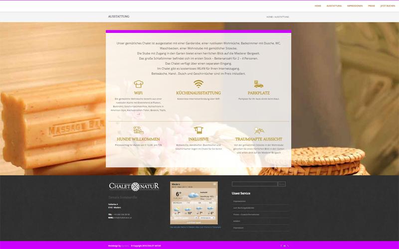 CMS Website www.chaletnatur.at, Fam. Sommavilla, Mieders im Stubaital - Print- und Webdesign styrolart