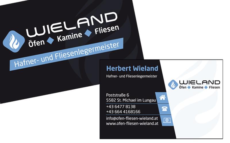Styrolart Print und Webdesign - Wieland - Öfen Kamine Fliesen, Drucksorten Visitenkarte Logodesign Folder Autobeschriftung Auslagenbeschriftung Fassadenbeschriftung