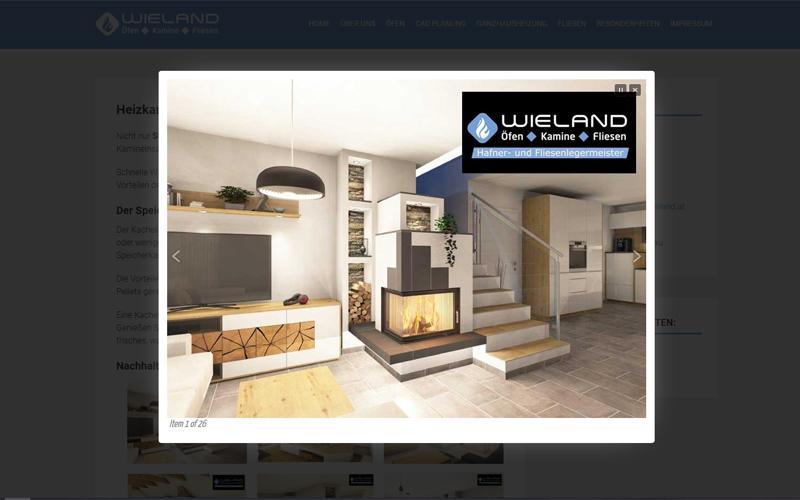 Styrolart Print und Webdesign - Wieland - Öfen Kamine Fliesen, Webdesign Websiteerstellung